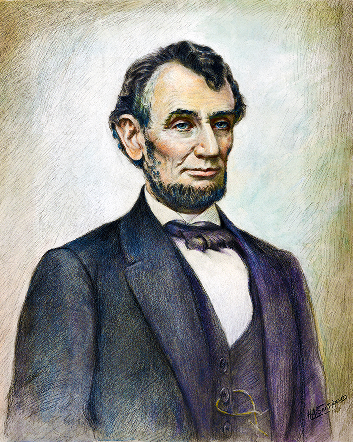 Abraham Lincoln Vintage Watercolor Pastel Print by H.A. Saint-Amand WPA Artist