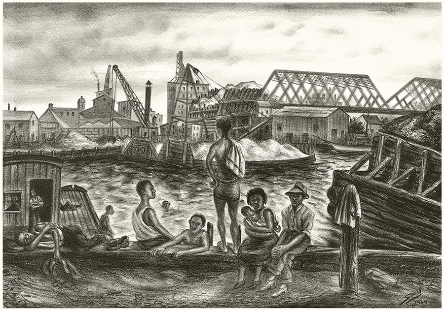 Bathers Harlem River Vintage Lithograph Print by Saul Kovner WPA Artist 1939