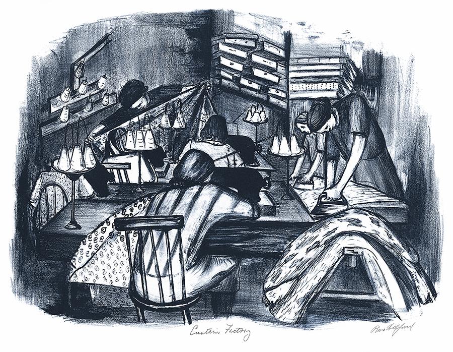Curtain Factory Vintage Lithograph Fine Art Print by Riva Helfond WPA Artist