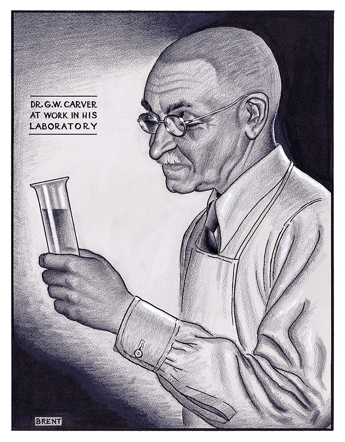 Dr. George Washington Carver at Work in His Laboratory by Richard Brent WPA Artist