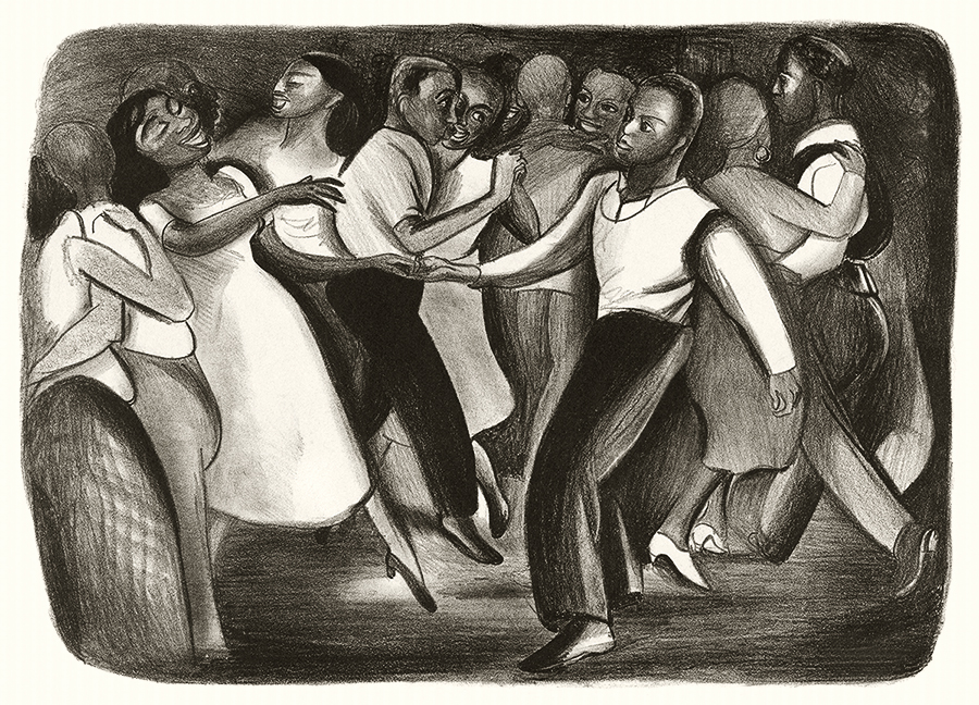 Harlem WPA Street Dance Vintage Lithograph Print by Elizabeth Olds WPA Artist