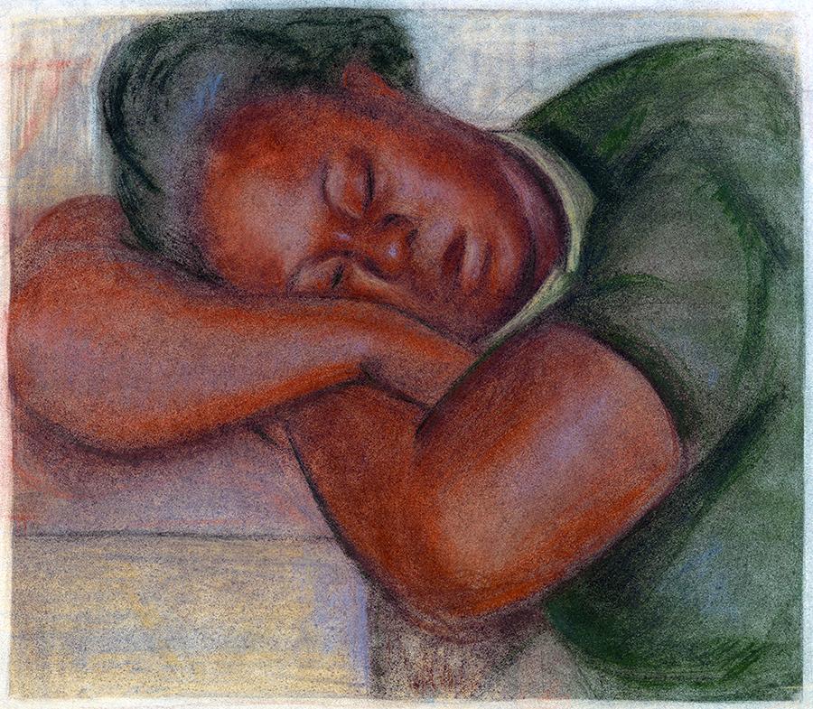 Negro Girl Vintage Pastel Fine Art Print by Sam Swerdloff WPA Artist