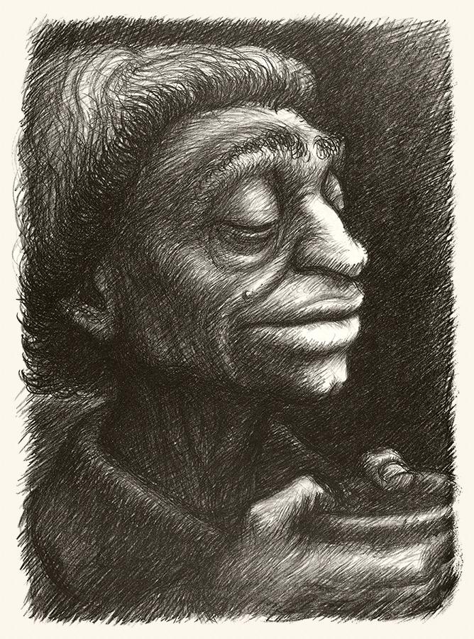 Portrait of a Negro Women Vintage Lithograph Fine Art Print by Hugh Miller WPA Artist