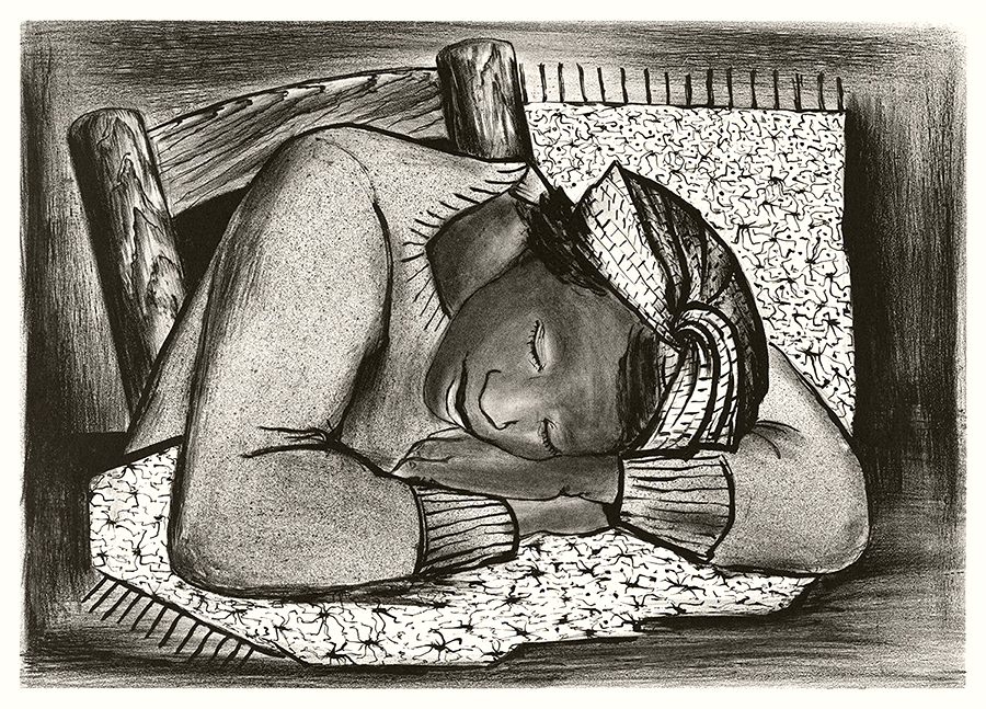 Sleeping Girl Lithograph Fine Art Print by Riva Helfond WPA Artist
