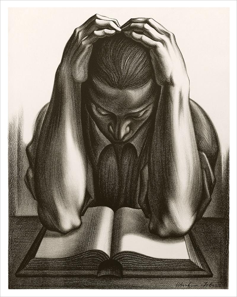 The Reader Vintage Lithograph Fine Art Print by Abraham Joel Tobias WPA Artist