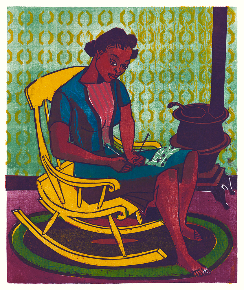 Yellow Rocker Vintage Color Woodblock Print by Bernard P Schardt WPA Artist