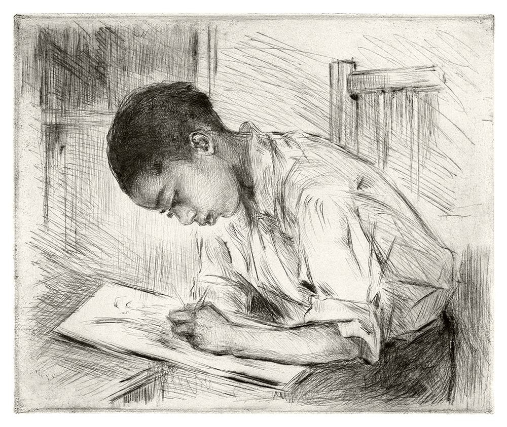 Young Negro Drawing Vintage Copper Plate Etching by Mathilde de Cordoba WPA