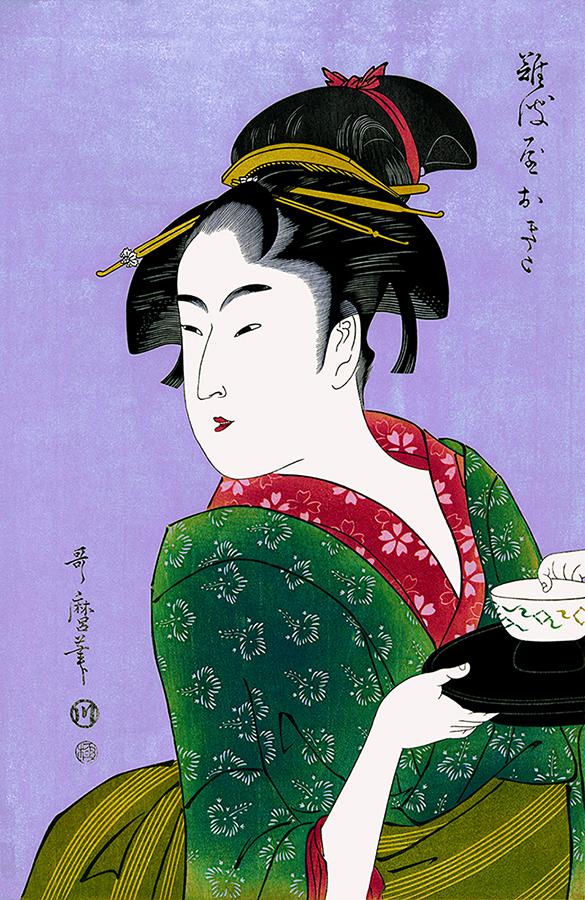 Naniwaya okita, a Teahouse Waitress Antique Woodblock Print by Utamaro Kitagawa