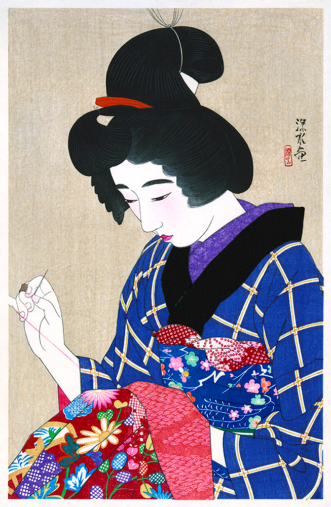 Hari shigoto, Sewing, Restored Antique Ukiyo-e Woodblock Print by Ito Shinsui